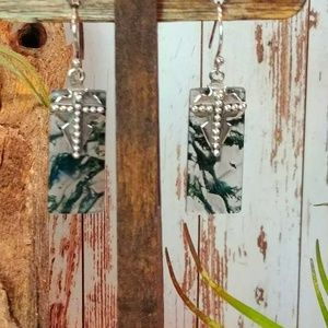 Jewelry - Moss Agate Sterling Cross Earrings